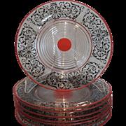 Rare Antique Art Deco Cambridge Glass Tally Ho Plates w Red Enamel SET of 8