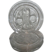 Rare Signed Lalique French Crystal Plate w Cherub & Rope