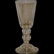 Rare Steuben Dorflinger Engraved Glass Chalice w Rocket Tractor
