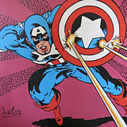 Original Dave Wilcox California Modern Superhero Painting of Captain America
