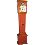 Unusual Red American Longcase Grandfather Designer Clock by L Larson