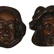 Pair of Antique 19th C Carved Wood Treen Renaissance Style Man Heads