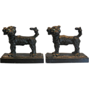 Pair of Unusual Antique Cold Painted Dog Sculptures Now Bookends
