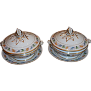Superb Pair Antique Hand Painted Old Paris Porcelain Covered Serving Bowls