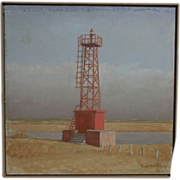 Original Oil Painting of a French Lighthouse by R. Bourquin