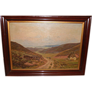 Huge Antique Danish Landscape Oil Painting by Emil Carl Lund 1855–1928