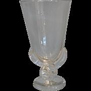 Unusual Signed Steuben Crystal Footed Vase