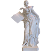 Unusual Antique KPM Berlin Porcelain Figure of Lady Knowledge -