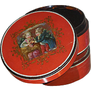 Rare Antique Pompeii Red Snuff or Patch Box w Scenic Romantic Lid
