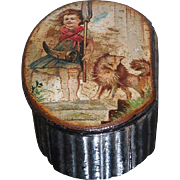 Rare Antique Paper Mache Snuff Box w Scenic Lid w Dog