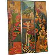 Huge 70's Triptych Oil Painting on Wood Panels High Fashion