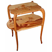 1170 Galle' Fruitwood Marquetry Two Tier Tea Table circa 1900