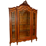 SALE 1202 French Rosewood Three-Door Curio Cabinet