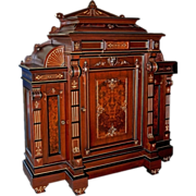 SALE 2697 Rosewood Renaissance Revival Marquetry Cabinet