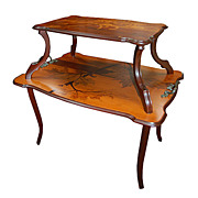 6674 Beautiful Two-Tier Inlaid Art Nouveau Side Table by Emile Gallé