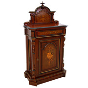 SALE 7359 American Renaissance Revival Rosewood Music Cabinet