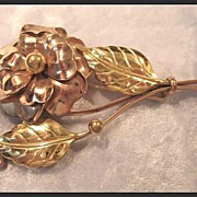 Large Flower Pin in Rose and Yellow Gold-tone