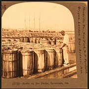 Keystone Stereo View: Rosin on the Docks, Savannah, Georgia