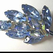 Petite Bright Blue Rhinestone Pin