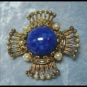 Maltese Cross Pin with Large Blue Cabochon