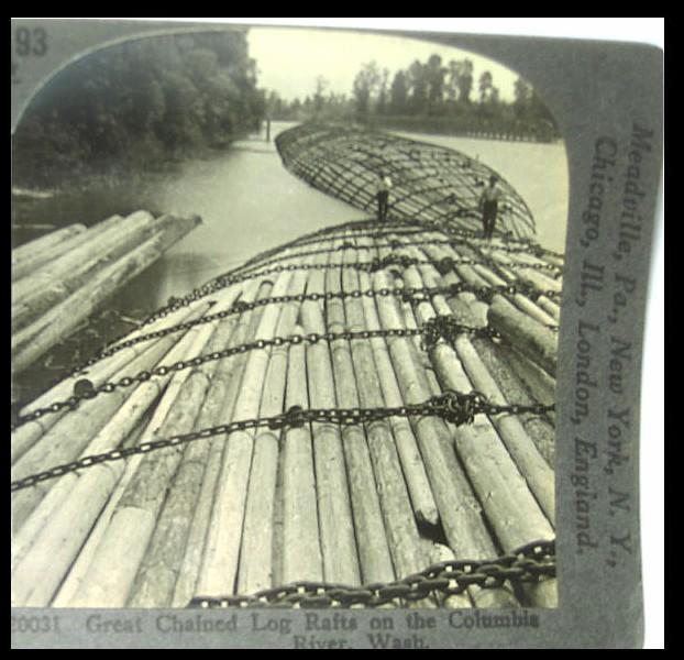 Rafts of Logs, Columbia River, Washington - Keystone Stereo View