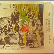 Black Americana Stereo View of A Group of Black People Eating Sugar Cane