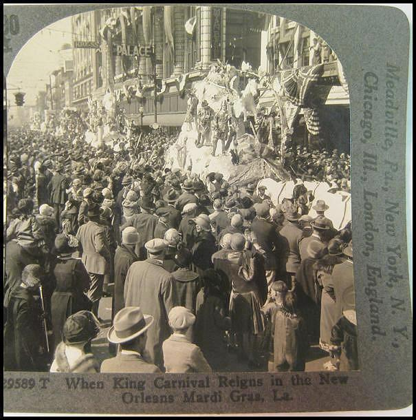 Stereo View of Mardi Gras Parade