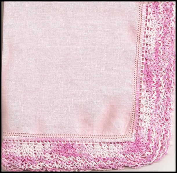 Pink Linen Handkerchief with Wide Crochet Border