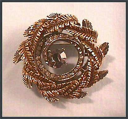 Wreath Pin Brooch with Rhinestones Signed ART