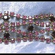 Striking Pink and Red Prong Set Rhinestone Bracelet
