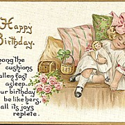 Tuck Happy Birthday Postcard with Sweet Little Girl and Her Doll