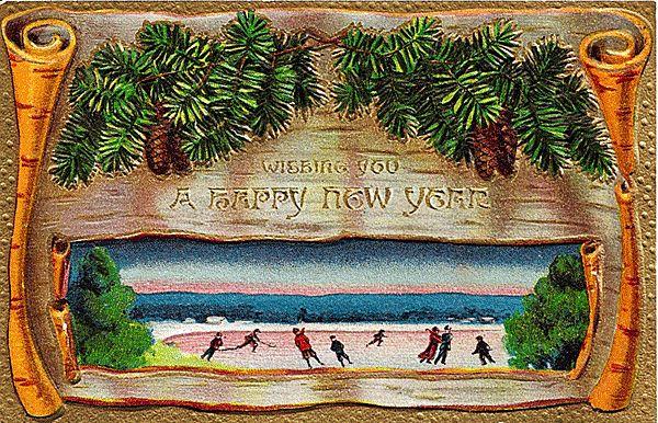 Embossed Happy New Year Postcard