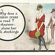 "Humorous Postcard ""Why Does a Chicken Cross the Road"""