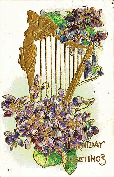 Birthday Greetings Postcard with Golden Angel on Harp
