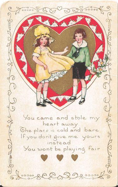 Whitney Valentine Postcard Undivided Back