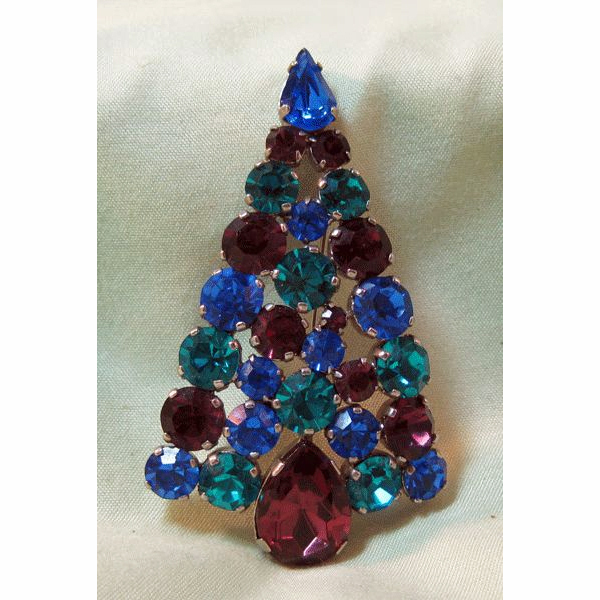 Absolutely Stunning Christmas Tree Pin Unusual Colors