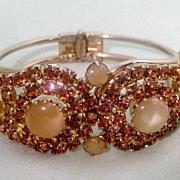 Gorgeous Clamper Bracelet Honey Amber and Moonstones