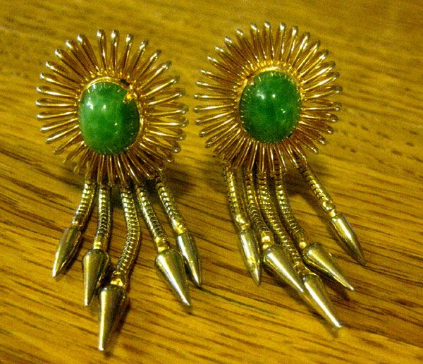 Gorgeous Hobe Earrings with Jadeite Stone an Dangles