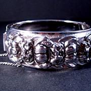 Coro Pegasus Bangle Bracelet Silver-tone with Floral Design
