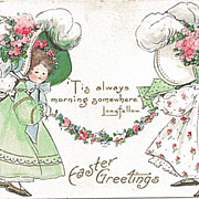 Easter Postcard of Two Sweet Girls with Huge Sunbonnets