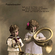 Real  Photo Postcard of Two Children Playing Musical Instruments - Hand Tinted