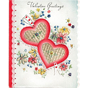 Valentine Greetings Card Two Hearts and Flowers