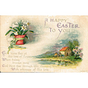 Wolf & Co. Easter Postcard Featuring Lilies and Pastoral Scene