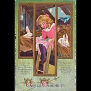 Easter Postcard Girl Bunny Rabbits Bird in Hay Loft