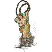 Victorian Die-cut Angel Ornament with Tinsel / Victorian Angel / Tinsel Angel / Christmas Angel / Vintage Collectible Ornament / Christmas Decor