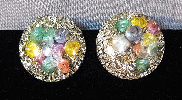 Retro Lucite Earrings with Confetti and Colored Shells