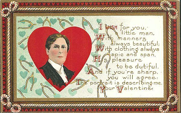 Valentine Postcard with Handsome Young Gentleman and Wishbones