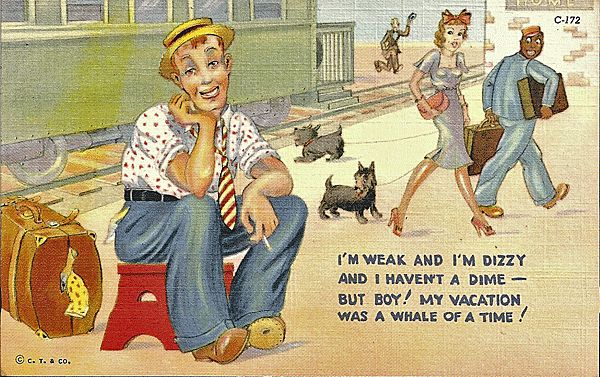 Comic Postcard with Pretty Lady, Lazy Traveler and Black Porter
