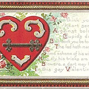 Valentine Postcard with Hardware and Lock
