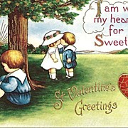Valentine Post Card with Kissing Children